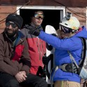 Oxana Chekoulaeva and Gudauri ski patrol. Photo: D. Pudenko