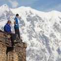Georgia. Upper Svaneti. Mt.Skhara massive. Egor Voskoboynikov and Sergey Ilyin. Photo: Konstantin Galat