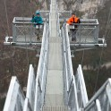 Russia. Sochi region. RTP riders Konstantin Galat and Igor Ilynikh on the SkyBridge in SkyPark. Photo: Oleg Kolmovskiy