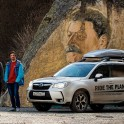 Russia. Nothern Osetia. Tsey valley. Ivan Malakhov, Boris Belousov and project official car - Subaru Forester. Photo: Evgeniy Egorov