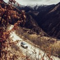 Russia. Nothern Osetia. Mountain road in Fiagdon valley. RTP project official car - Subaru Forester. Photo: Sergey Puzankov