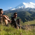 Russia. North face of Elbrus. Konstantin Galat and Gleb Ermolaev. Photo: Ludmila Zvegintseva
