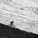 Russia. South Elbrus. Terskol valley and glacier. Rider - Nikolay Pukhir. Photo: Ludmila Zvegintseva