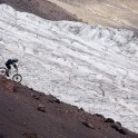 Russia. South Elbrus. Terskol valley and glacier. Rider - Petr Vinokurov. Photo: Ludmila Zvegintseva