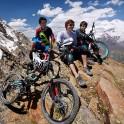 Russia. South Elbrus. Mt.Cheget, altitude 3500m. Riders - Nikoloay Pukhir, Petr Vinokurov and Vitaliy Khripunov. Photo: Ludmila Zvegintseva