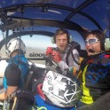 "Russia. North face of Elbrus. Riders Nikolay Pukhir and Petr Vinokurov. Heliaction company's helicopter ""Lama"" - pilot Alexander Davydov. Photo: GoPro"