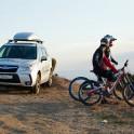 Crimea. Balaklava region. Riders Nikolay Pukhir and Petr Vinokurov and RTP project official car Subaru Forester. Photo: Konstantin Galat