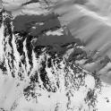 Russia, Caucasus, Elbrus region. Valley Medvezhie ridge. New freeride routes from Google Earth satellite shot