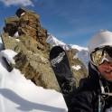 Russia, Caucasus, Elbrus region. Valley Medvezhie ridge. Rider Konstantin Galat at the couloir start-point. Selfie