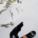 Russia, Caucasus, Elbrus region. Valley Medvezhie. New freeride route - rider Konstantin Galat. Photo from helmet GoPro