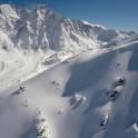 Russia, Caucasus, Elbrus region. Mt.Cheget north slopes. Rider - Aleksander Ilyin. Photo by Oleg Kolmovskiy (drone)