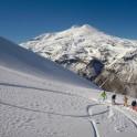 Russia, Caucasus, Elbrus region. Mt.Cheget north slopes. RTP riders. Photo by Oleg Kolmovskiy (drone)